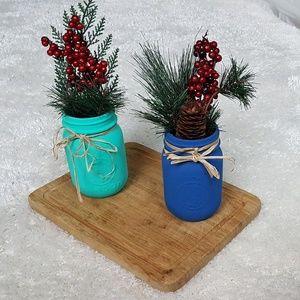 Decorative Painted Mason Jars (set of 2)